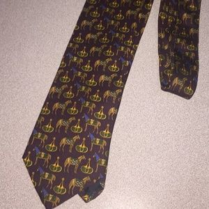 Brooks Brothers PURPLE W/Multi-color HORSES TIE